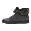 Knöchelhohe Leder-Sneakers mit Fell bata, Grau, 593-2601 - 26