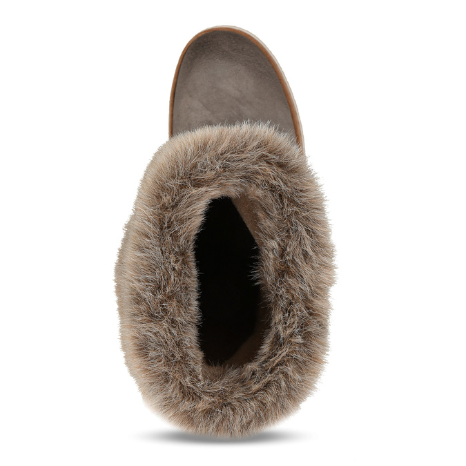 Winterlederschuhe mit Pelz weinbrenner, Grau, 596-2633 - 17