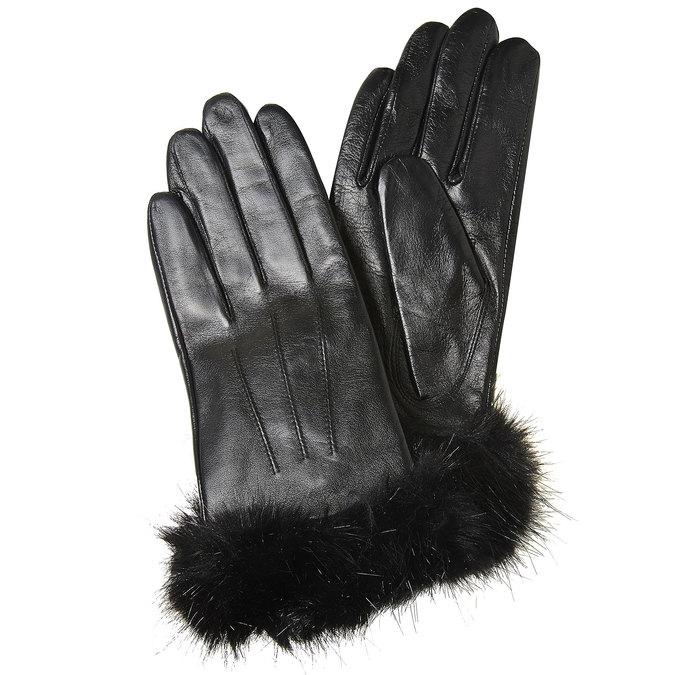 Lederhandschuhe für Damen bata, Schwarz, 904-6126 - 13