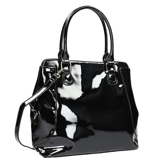 Schwarze Lack-Handtasche bata, Schwarz, 961-6684 - 13