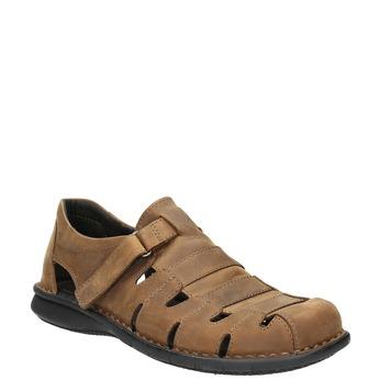 Braune Herrensandalen aus Leder bata, Braun, 864-4600 - 13