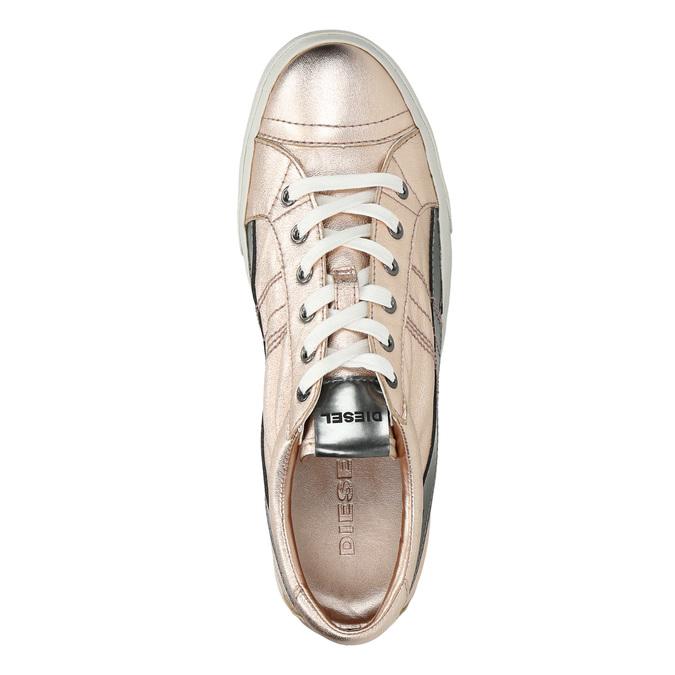 Damen-Sneakers aus Leder mit Steppnaht diesel, Rosa, 584-8438 - 19
