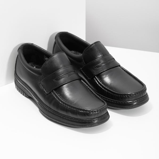Herren-Mokassins aus Leder mit Steppung pinosos, Schwarz, 814-6624 - 26