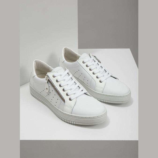 Damen-Sneakers aus Leder mit Reissverschluss bata, Weiss, 526-2630 - 18