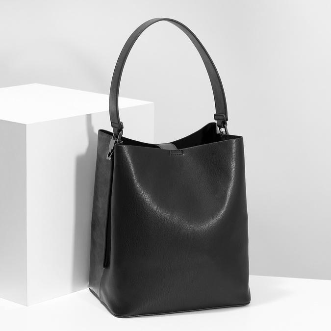 Schwarze Hobo-Damenhandtasche, Schwarz, 961-2173 - 17