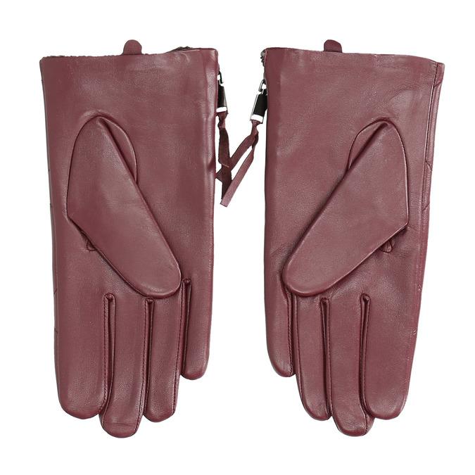 Weinrote Lederhandschuhe mit Reißverschluss bata, Rot, 904-5108 - 16