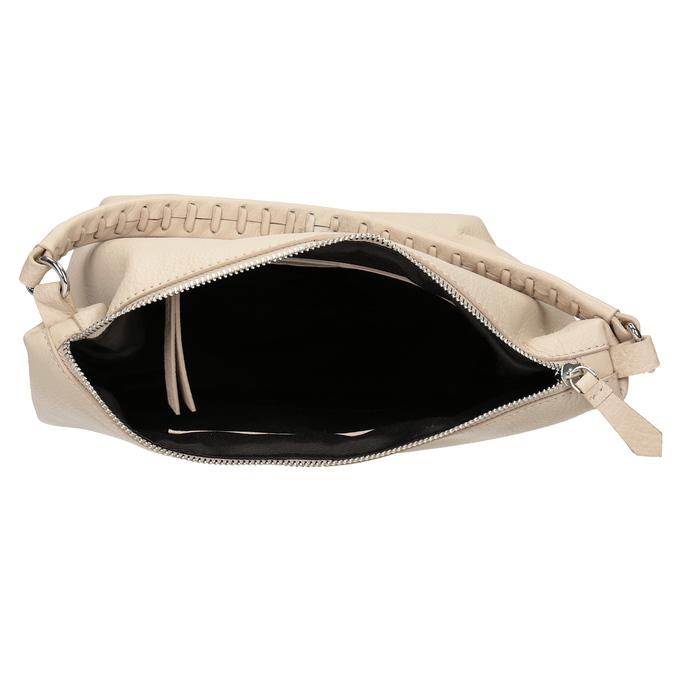 Cremefarbene Hobo-Handtasche aus Leder bata, Beige, 964-8290 - 15